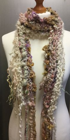 Hand knitted art yarn luxury couture textile scarf. by Pinkipunki