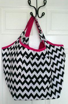Black White and Pink Chevron Tote Bag Beach by KraftsbyViktorija, $38.00