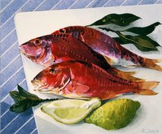 Red Mullet by Ronald Jesty Watercolor Paintings, Watercolours, Food Painting, Painting Still Life, Printmaking, Arts And Crafts, Fish, Red Mullet, Pictures