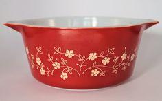 Vintage Pyrex Beige on Rust Bake & Carry Sprig/Trailing Flowers 474-B Casserole by BirdAvenueVintage on Etsy