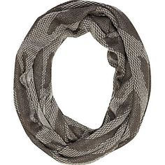£18 grey print snood - scarves. Use a scarf to layer.  You can easily take on & off, shove in your handbag and also add a print or colour to an outfit using one.  Don't be fooled by a silk scarf - silk although thin, is a very warm, natural fabric!