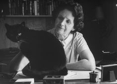 Biologist and author Rachel Carson at home with pet cat Moppet on 24 September Photograph: Alfred Eisenstaedt/Getty Image Celebrities With Cats, Rachel Carson, 24 September, Photographs Of People, Famous Photographers, Cat People, Cat Life, Photo Book, Famous People