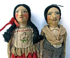 Vintage Mexican or Hispanic Folk Art Dolls
