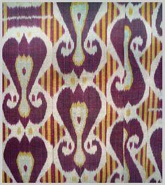 uzbek Silk and cotton ikat panel.  Uzbekistan. 1880-1900.  Measurements: 88cm's x 88cm's  Esther Fitzgerald Rare Textiles.