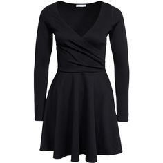 Nly One Long Sleeve Wrap Skater (2,380 PHP) ❤ liked on Polyvore featuring dresses, black, party dresses, womens-fashion, skater dress, long sleeve jersey dress, long sleeve jersey, long sleeve wrap dress and circle skirt