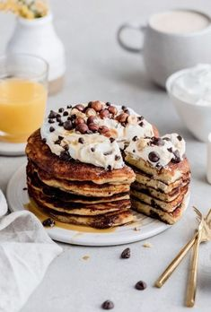 Nothing better than waking up to a stack of fluffy chocolate chip pancakes any day of the week! Top them with fresh whipped cream and more chocolate chips. Best Breakfast, Breakfast Recipes, Breakfast Ideas, Breakfast Photography, Food Photography, Pancake Toppings, Pancake Stack, Chocolate Chip Pancakes, Chocolate Chips