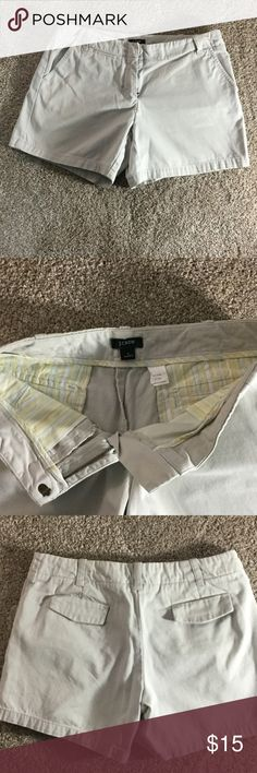 JCrew size 2 low fit shorts JCrew size 2 low fit khaki shorts. Like new my daughter only wore them a few times.  Great shape no wear on them.  Perfect summer classic flat front khaki J. Crew Shorts