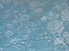 Vintage linen mattress ticking French ticking fabric blue floral mattress toile w roses, bows ribbons sewing patchwork supply textile fabric Vintage Linen, Antique Lace, Ticking Fabric, Blue Home Decor, Textile Fabrics, Blue Tones, Vintage Accessories, French Antiques, Damask