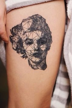 Black work Marilyn Monroe fractal tattoo
