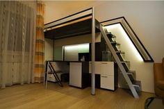 Postel na patře s pracovním koutem Bunk Beds, Loft, Furniture, Home Decor, Decoration Home, Double Bunk Beds, Room Decor, Lofts, Home Furnishings
