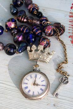Pocket watch necklace Crown jewelry Crown ring crown Royal Jewelry, Gothic Jewelry, Antique Jewelry, Vintage Jewelry, Handmade Jewelry, Pocket Watch Necklace, Silver Pocket Watch, Vintage Pocket Watch, Found Object Jewelry