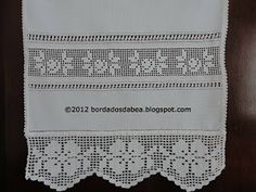 ♥ Filet Crochet Flower Edging; Roses Insert with Beading/Faggoting