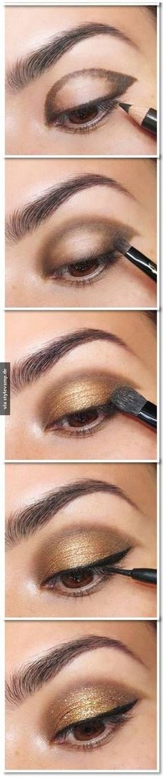 25 Beautiful Eye Make-up Tutorials For Rookies of 2019 Easy Gold Eye Make-up tutorial. Here's a damaged down eye make-up tutorial. What a fantastic technique to get a beautiful eye make-up!