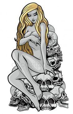Dark Art Drawings, Sexy Drawings, Pin Up Girl Tattoo, Girl Tattoos, Arte Horror, Horror Art, Dark Fantasy Art, Fantasy Artwork, Arte Nerd