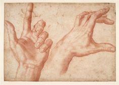Etudes de mains | Baccio (dit), Bandinelli Bartolommeo (1493-1560) | Dessin à la sanguine