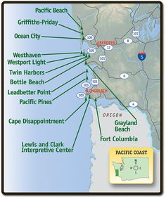 Map of Pacific Coast Region of Washington with state parks identified