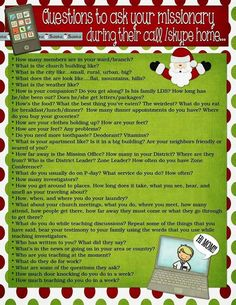 Purpose Driven Motherhood: Fun list of questions to ask your missionary during t. Purpose Driven Motherhood: Fun list of questions to ask your missionary during their Christmas call or Skype! Missionary Scriptures, Missionary Letters, Missionary Girlfriend, Missionary Gifts, Sister Missionaries, Missionary Care Packages, Lds Church, Letter Templates, Lettering