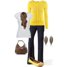 """""""Yellow and Brown"""" by alicia-querry on Polyvore"""