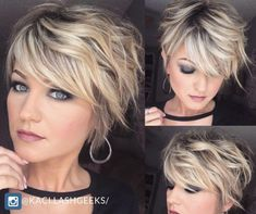 Wanna get this look? Check it out ! - - The short hairstyles complement them perfectly and reduce dozens of years from their age. The perfectly styled hair augments their jaw line beautifully and make them that much more sensual. Short Hair Styles Easy, Short Hair With Layers, Short Hair Cuts For Women, Curly Hair Styles, Short Textured Hair, Sleek Hairstyles, Cute Hairstyles For Short Hair, Short Haircut, Chin Length Hair