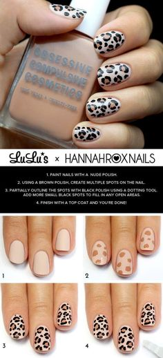 Awesome Nail Art Patterns And Ideas - Leopard Print Nail Tutorial - Step by Step DIY Nail Design Tutorials for Simple Art, Tribal Prints, Best Black and White Manicures. Easy and Fun Colors, Shapes and Designs for Your Nails. Cheetah Nail Designs, Leopard Print Nails, Fall Nail Art Designs, Leopard Prints, Tribal Prints, Cheetah Nail Art, Beige Nail Art, Tribal Print Nails, Leopard Spots
