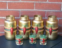 Christmas Wedding Decoration / Wedding by CarolesWeddingWhimsy, set of 7, Red, Green and Gold Glitter and Bling Christmas  Wedding Vases and Votive Candle Holders - You can find them here https://www.etsy.com/listing/169123661/christmas-wedding-decoration-wedding  https://www.etsy.com/shop/CarolesWeddingWhimsy https://www.facebook.com/CarolesWeddingWhimsy