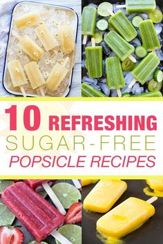 There's nothing like an ice-cold popsicle in the sweltering sun to cool you down, so, take a bite out of these 10 Refreshing Sugar-Free Popsicle Recipes! Diabetic Desserts, Sugar Free Desserts, Sugar Free Recipes, Frozen Desserts, Frozen Treats, Low Carb Recipes, Dessert Recipes, Cooking Recipes, Paleo Recipes