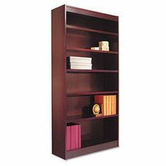 """Square Corner Wood Veneer Bookcase, 6-Shelf, 35-3/8w x 11-3/4d x 72h, Mahogany by Alera. $585.98. Rich wood veneer bookcases with fully-finished backs. Sturdy 1"""" thick shelves support up to 90 lbs. Generous 11-1/2"""" deep shelves accommodate three-ring binders and large publications. Shelves adjust in 1 1/4"""" increments. Quick-lock fasteners allow easy assembly. Shelf count includes fixed middle and bottom shelves. Color: Mahogany; Material: Wood Veneer; Shelf Count: 6."""