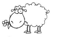 Cartoon Sheep & Flower Unmounted Clear Polymer Stamp ( Large ) £3.99