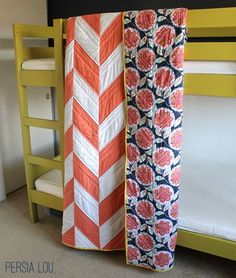 Herringbone Quilts Tutorial - Complete step-by-step instructions to make your own twin-size herringbone quilt with contrasting backing and binding.