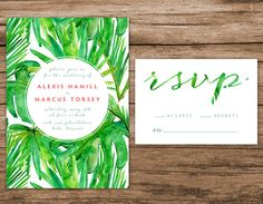 Watercolor Palm Leaves Invitation, Destination Wedding Invitation, Palm Trees Wedding Invitation