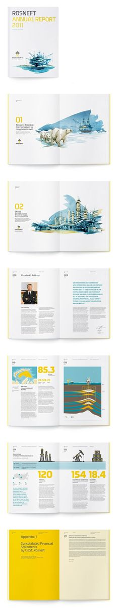 Clean bright corporate annual report with watercolour illustrations