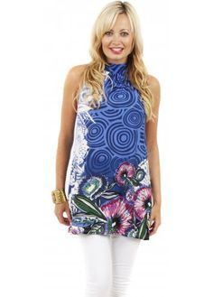 Blue Floral Halter Neck Tie Tunic Top