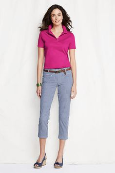 work uniform idea-Womens Short Sleeve Pima Polo Shirt from Lands End Polo Shirt Outfit Women's, Polo Shirt Style, Blue Polo Shirts, Golf Outfit, Polo Outfits For Women, Polo Shirt Women, Camisa Polo, Work Attire, Work Outfits
