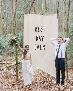 """""""What's not to love about this? Happy newlyweds a beautiful two piece lace gown by @moonlightbridal and an adorable #DIY banner!""""  Thanks so much to #moonlightbridal for taking over our Instagram for #FashionFriday  Click the link in our bio to shop their gorgeous gowns  #theknot #theknotdresses : @madelineharperphoto via @angela4design"""