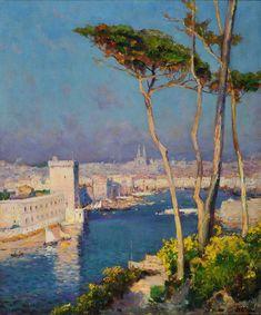 Jean-Baptiste Olive (1848-1936), vue du vieux port à Marseille