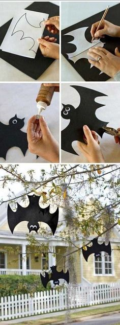 diy halloween deko - einfach mal die Fledermäuse falschrum aufhängen. Bat Decoration upside down - for the more realistic look. (Bottle Decoration)
