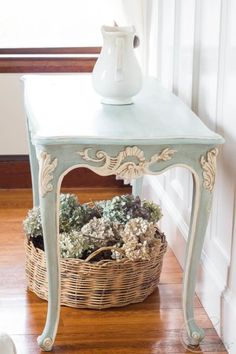 How to Paint a French Style Table Try something like this for my small table with dark brown &cream paints