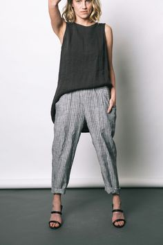 stripe clyde pant by elizabeth suzann