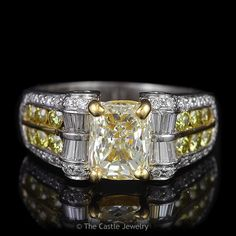Radiant Cut Natural Fancy Yellow Engagement Ring with Yellow & White Diamond Accents in 18K Multi Toned Gold - The Castle Jewelry  - 1