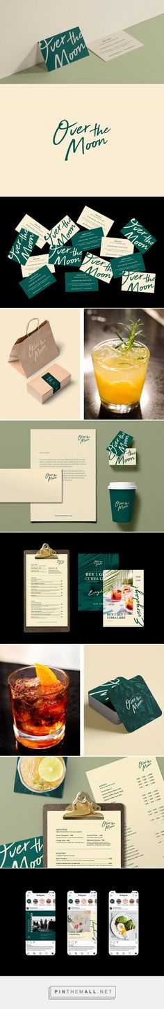 """Over The Moon Brand Identity - Designed by Pitu Studio - """"Hand written insipred typeface is used to portay emotion and friendliness. The green aspect convey innovation, growth and calming experience that Over The Moon can offer. Brand Identity Design, Graphic Design Branding, Corporate Design, Stationery Design, Brochure Design, Logo Design, Corporate Identity, Identity Branding, Brand Design"""
