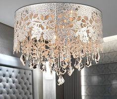 DRUM SHADE CRYSTAL CEILING CHANDELIER PENDANT LIGHT FIXTURE LIGHTING LAMP