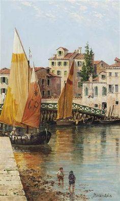 Venetian barges by Antonietta Brandeis (Austrian, 1848–1926)
