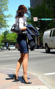 Classic skirt suit, white shirt, heels