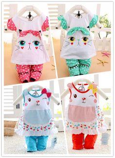 02839cbe5e32 1 Set Retail Summer Sets New 100% Cotton Dot Kids Clothing Set, T-shirt +  Pants, Hello Kitty Children Set FREE SHIPPING