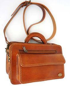Freestyle Marcia II Chestnut handmade genuine leather sling bag. R 1'569. Handcrafted in Cape Town, South Africa. Width: 30cm Height: 19.5 cm Gussets: 7cm Cape Town, Leather Men, Leather Handbags, South Africa, Men's Shoes, Satchel, African, Unisex, Wallet