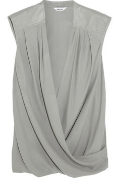 Helmut Lang leather-trimmed top #DateNight #THEOUTNET