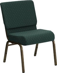 Flash Furniture 4 Pk. HERCULES Series 21''W Stacking Church Chair in Hunter Green Dot Patterned Fabric - Gold Vein Frame
