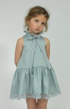 Love this eggshell blue ruffle dress with a little bow at the neck | Perfect for tea with friends and dolls | #kidstylin