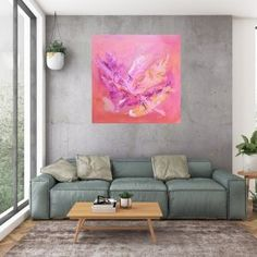 Wieth and ease of a butterfly - large pink abstract - Ivana Olbricht Pink Abstract, Golden Color, Shades Of Purple, Art Ideas, Butterfly, Mood, Canvas, Artist, Artwork