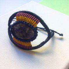 Modern macrame bracelet. Gemstone bracelet w/ Dumortierite. Unique bracelet. Statement bracelet. Micro macrame hand woven necklace. by NomadeMacrame on Etsy